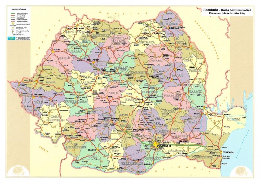 Harta Romaniei A4